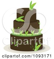 Clipart Layered Brown And Green Leaf Cake Royalty Free Vector Illustration