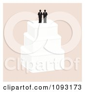 Clipart Layered Wedding Cake With A Gay Topper 3 Royalty Free Vector Illustration