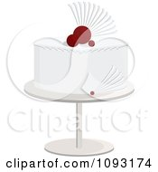 Clipart White And Red Wedding Cake Royalty Free Vector Illustration by Randomway