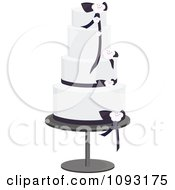 Clipart Beautiful Black And White Blossom And Ribbon Wedding Cake Royalty Free Vector Illustration