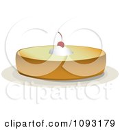 Clipart Whole Cheese Cake With Whipped Cream And A Cherry Royalty Free Vector Illustration by Randomway