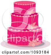 Clipart Bright Pink Floral Cake Royalty Free Vector Illustration