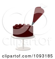 Clipart Piping Bag Decorating A Chocolate Cake With Flower Designs Royalty Free Vector Illustration