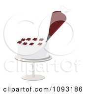 Clipart Piping Bag Decorating A White Cake With Flower Designs Royalty Free Vector Illustration