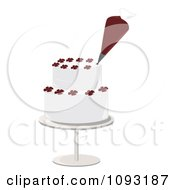 Clipart Piping Bag Decorating A Layered White Cake With Flower Designs Royalty Free Vector Illustration