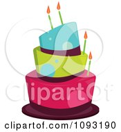 Clipart Funky Blue Green And Pink Dot Birthday Cake Royalty Free Vector Illustration