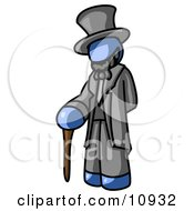 Blue Man Depicting Abraham Lincoln With A Cane Clipart Illustration