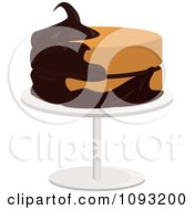Clipart Vanilla Cake Half Frosted With Chocolate On A Stand Royalty Free Vector Illustration