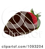 Clipart Dark Chocolate Dipped Strawberry With Icing Royalty Free Vector Illustration