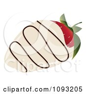 Clipart White Chocolate Dipped Strawberry With Icing Royalty Free Vector Illustration