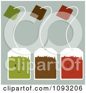 Clipart Green Brown And Red Tea Bag Characters Royalty Free Vector Illustration by Randomway