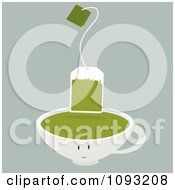 Green Tea Bag Over A Cup Character