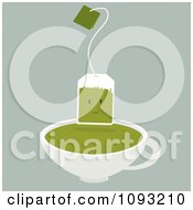Green Tea Bag Character Over A Cup
