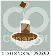 Clipart Brown Tea Bag Over A Cup Character Royalty Free Vector Illustration by Randomway
