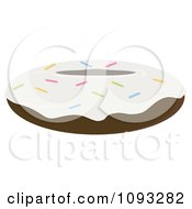 Clipart White Frosted Chocolate Sprinkle Donut Royalty Free Vector Illustration by Randomway