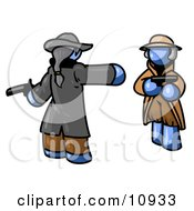 Blue Man Challenging Another Blue Man To A Duel With Pistils Clipart Illustration