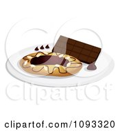 Clipart Chocolate Danish With Icing Royalty Free Vector Illustration by Randomway