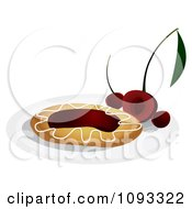 Clipart Cherry Danish On A Plate - Royalty Free Vector Illustration by Randomway