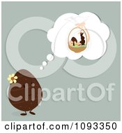 Clipart Egg Thinking Of An Easter Basket Royalty Free Vector Illustration by Randomway