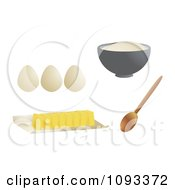 Clipart Cut Butter Spoon Eggs And Bowl Of Flour Royalty Free Vector Illustration by Randomway