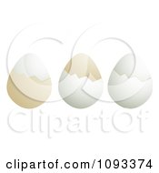 Clipart Three Boiled Eggs And Shells Royalty Free Vector Illustration