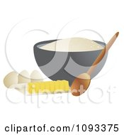 Clipart Bowl Of Flower Spoon Eggs And Sliced Butter Royalty Free Vector Illustration by Randomway