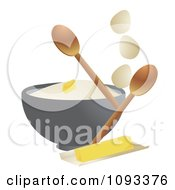 Mixing Bowl With Eggs Flour Butter And Spoons