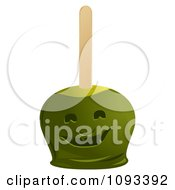 Clipart Green Ghost Candied Apple Royalty Free Vector Illustration by Randomway