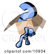 Blue Man Carrying A Heavy Question Mark In A Box Clipart Illustration by Leo Blanchette