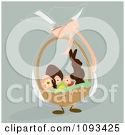 Clipart Easter Basket With Candy Character Royalty Free Vector Illustration by Randomway