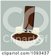 Clipart Chocolate Candy Bar And Marshmallow Characters With Hot Cocoa 1 Royalty Free Vector Illustration