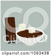 Clipart Chocolate Candy Bar And Marshmallow Characters With Hot Cocoa 2 Royalty Free Vector Illustration