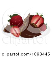 Clipart Strawberries And Chocolate Royalty Free Vector Illustration by Randomway