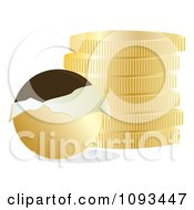 Clipart Chocolate Coins With Gold Wrappers 3 Royalty Free Vector Illustration