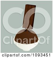Clipart Chocolate Candy Bar Character On Ice Cream Royalty Free Vector Illustration