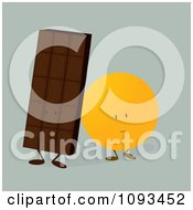 Clipart Chocolate Candy Bar And Orange Characters Royalty Free Vector Illustration