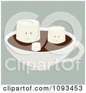 Clipart Happy Marshmallows Floating On Hot Chocolate Royalty Free Vector Illustration