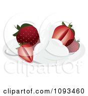 Clipart Strawberries With Cream Royalty Free Vector Illustration by Randomway