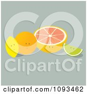 Clipart Citrus Fruit Characters Royalty Free Vector Illustration by Randomway