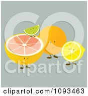Clipart Citrus Fruit Friends Royalty Free Vector Illustration by Randomway