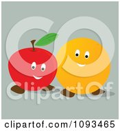 Clipart Happy Orange And Apple Royalty Free Vector Illustration
