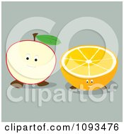 Clipart Apple And Orange Characters Royalty Free Vector Illustration by Randomway