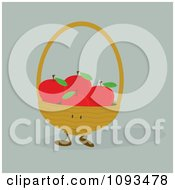 Clipart Basket Character Of Red Apples Royalty Free Vector Illustration