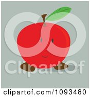 Clipart Shy Red Apple Royalty Free Vector Illustration