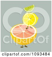 Clipart Pile Of Citrus Fruit Characters Royalty Free Vector Illustration by Randomway