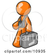 Orange Male Tourist Carrying His Suitcase And Walking With A Camera Around His Neck