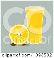 Clipart Orange Character And Glass Of Juice Royalty Free Vector Illustration by Randomway