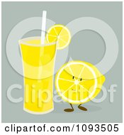 Glass Of Lemonade And Fruit Character