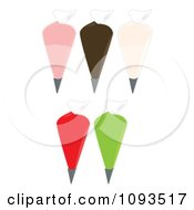 Clipart Piping Bags Filled With Colorful Frosting Royalty Free Vector Illustration