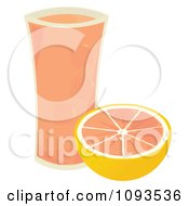 Clipart Glass Of Grapefruit Juice And Half A Fruit Royalty Free Vector Illustration by Randomway